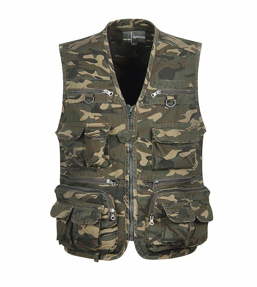 TT Global Mens Classic Spring Summer Autumn Cotton Multi-Pocket Camouflage Gilets Vest Outdoor Fishing Photography Multifunction Camo Waistcoat Coat