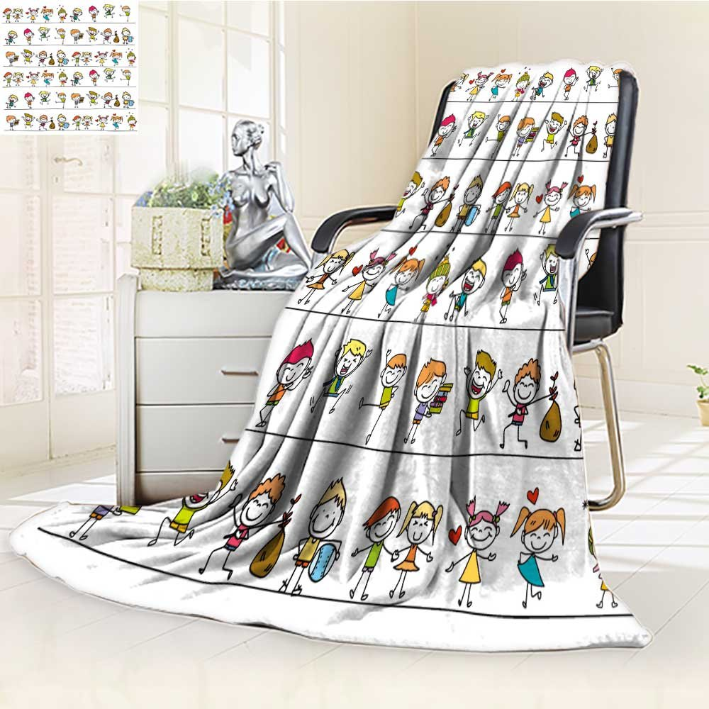 Microfiber Fleece Comfy All Season Super Soft Cozy Blanket hand drawing cartoon happy kids for Bed Couch and Gift Blankets(90''x 70'')