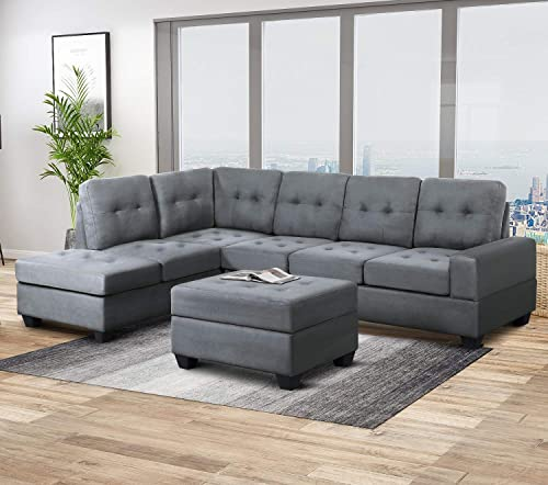 Harper Bright Designs Sofa Sectional 3-Seat with Reversible Chaise Lounge and Storage Ottoman Sofas Couch for Living Room Gray