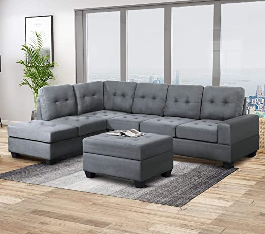 Harper & Bright Designs Sofa Sectional 3-Seat with Reversible Chaise Lounge  and Storage Ottoman Sofas Couch for Living Room (Gray)