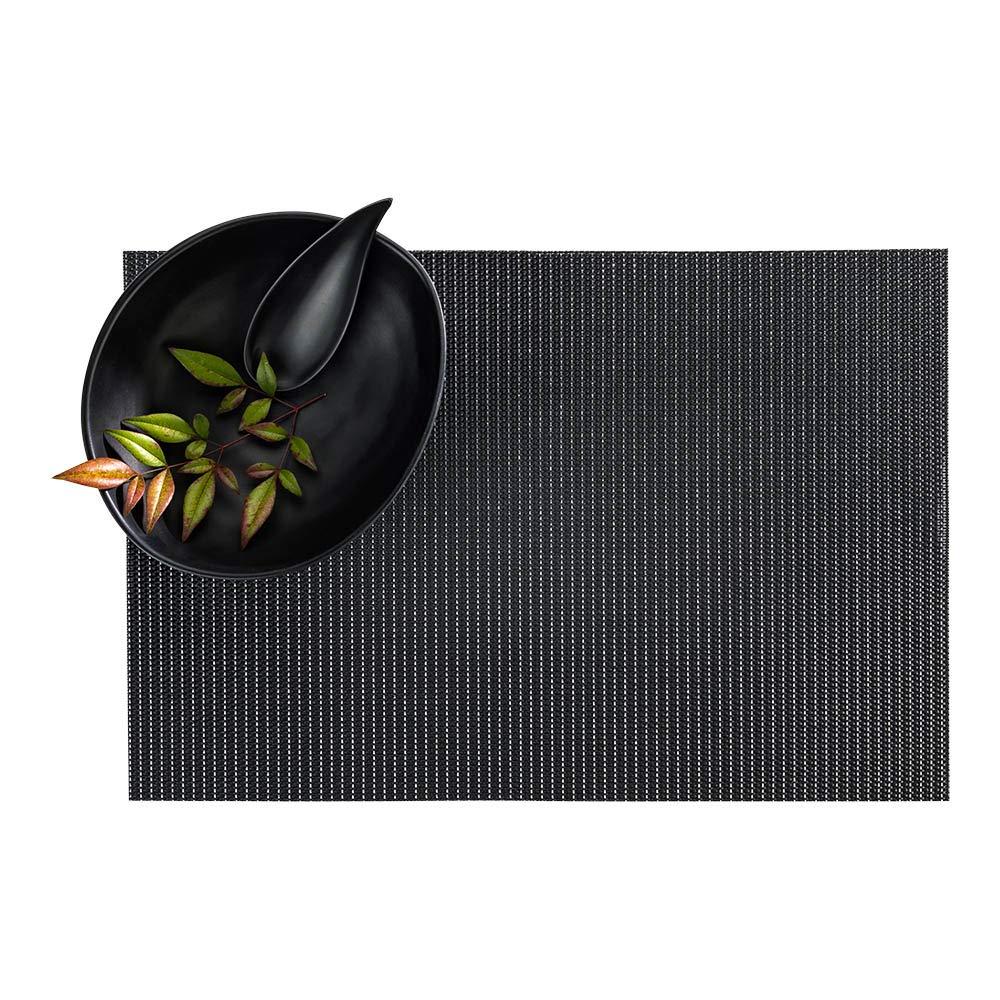 Restaurantware RWA0451B ピンストライプ ブラック ビニール 織地 プレースマット シルバースレッド付き 16インチ x 12インチ 6枚入りボックス 長さ16.0インチ x 幅12.0インチ x 高さ0.2インチ   B07GWBJGSJ
