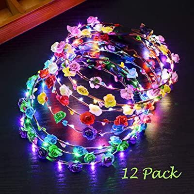 12 Pcs LED Flower Headband Light Up, 20 Hours Works Led Floral Headbands, Include 10 Paper Flowers and 10 Led Light Up Floral Headbands or Holiday Christmas Halloween Party: Toys & Games