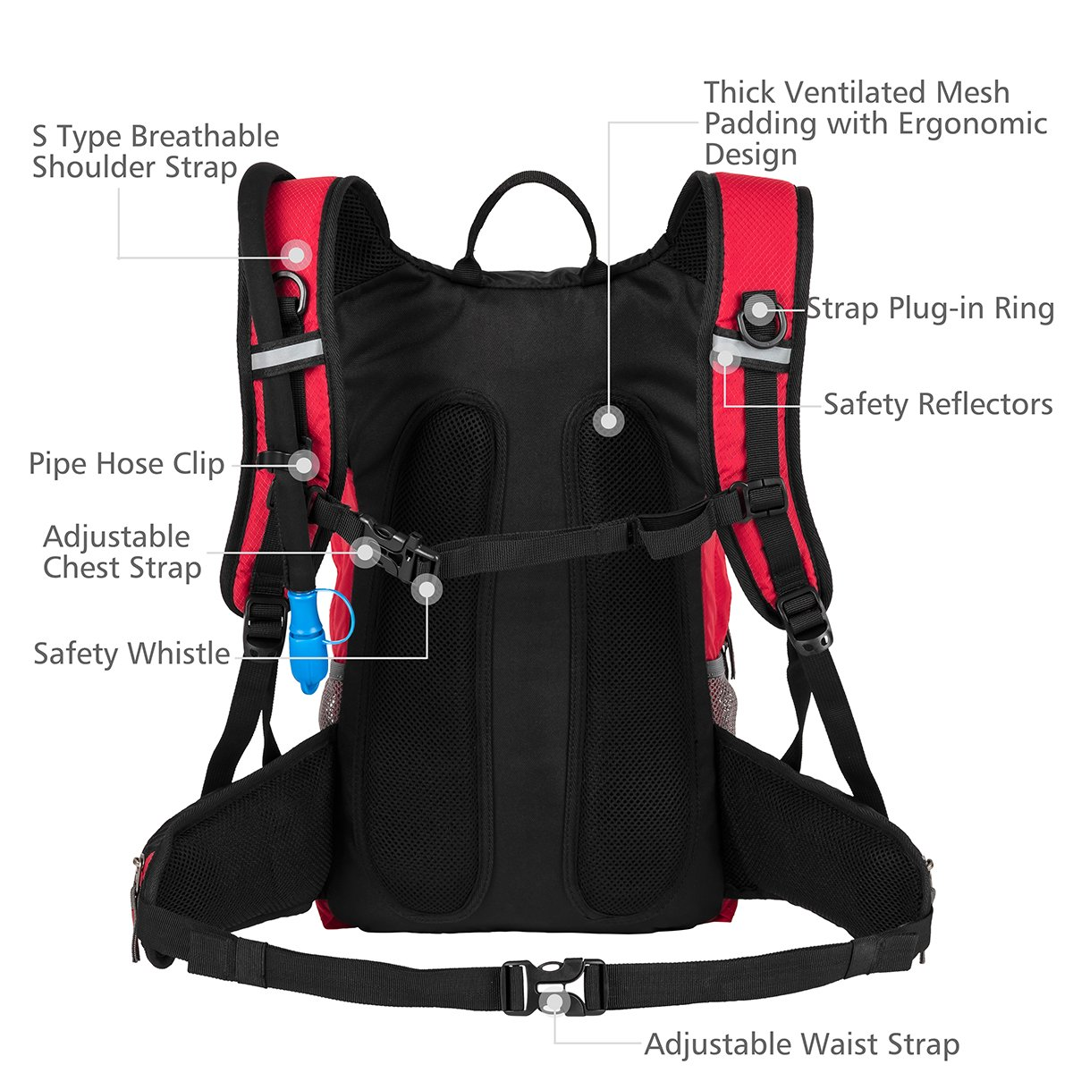 Fits Men 18L Women RUPUMPACK Insulated Hydration Backpack Pack with 2.5L BPA Free Bladder School Commuter Lightweight Daypack Water Backpack for Hiking Running Cycling Camping Kids