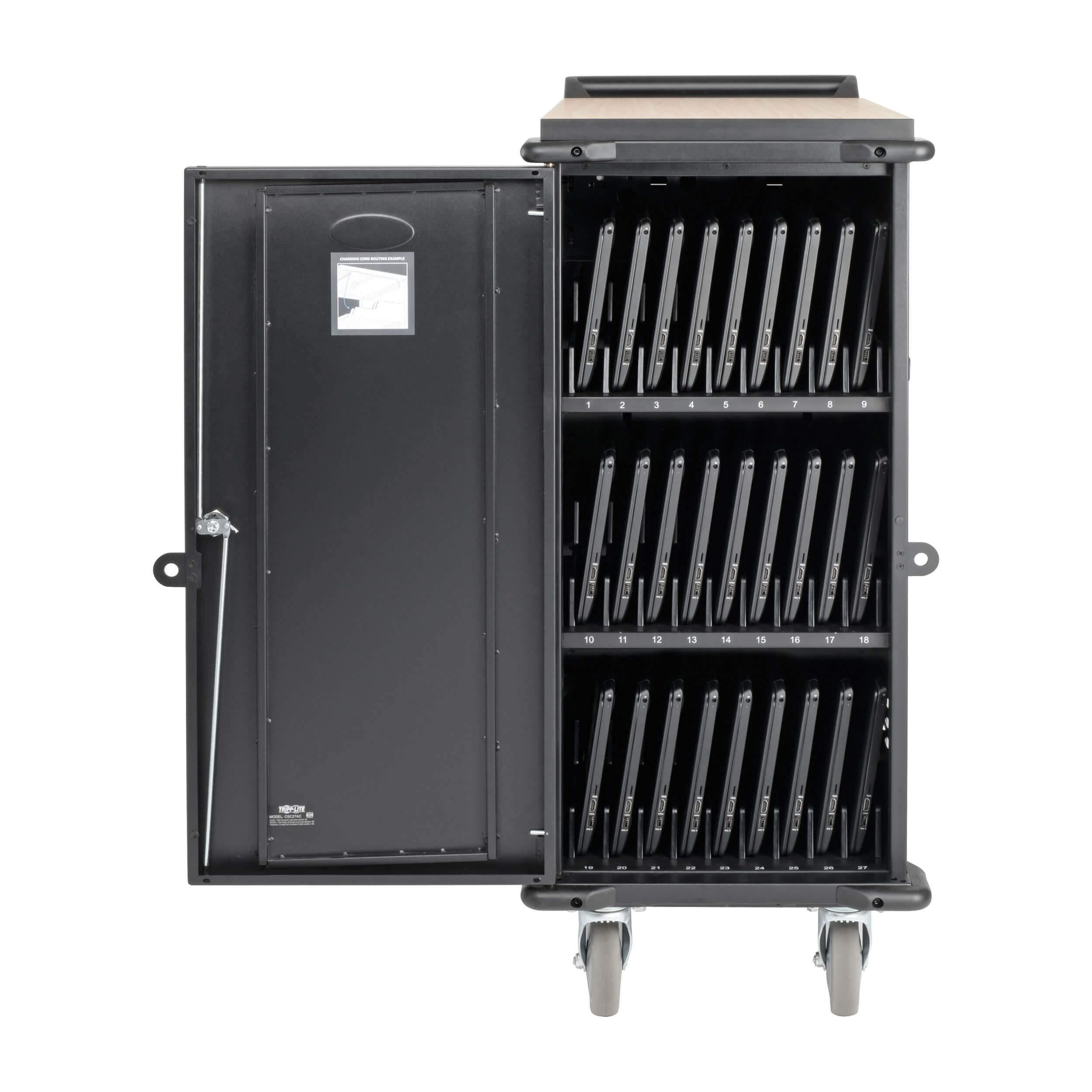 Tripp Lite 27-Port AC Mobile Charging Cart Storage Station for Chromebooks, iPads, Laptops, Tablets, Black (CSC27AC) by Tripp Lite (Image #3)