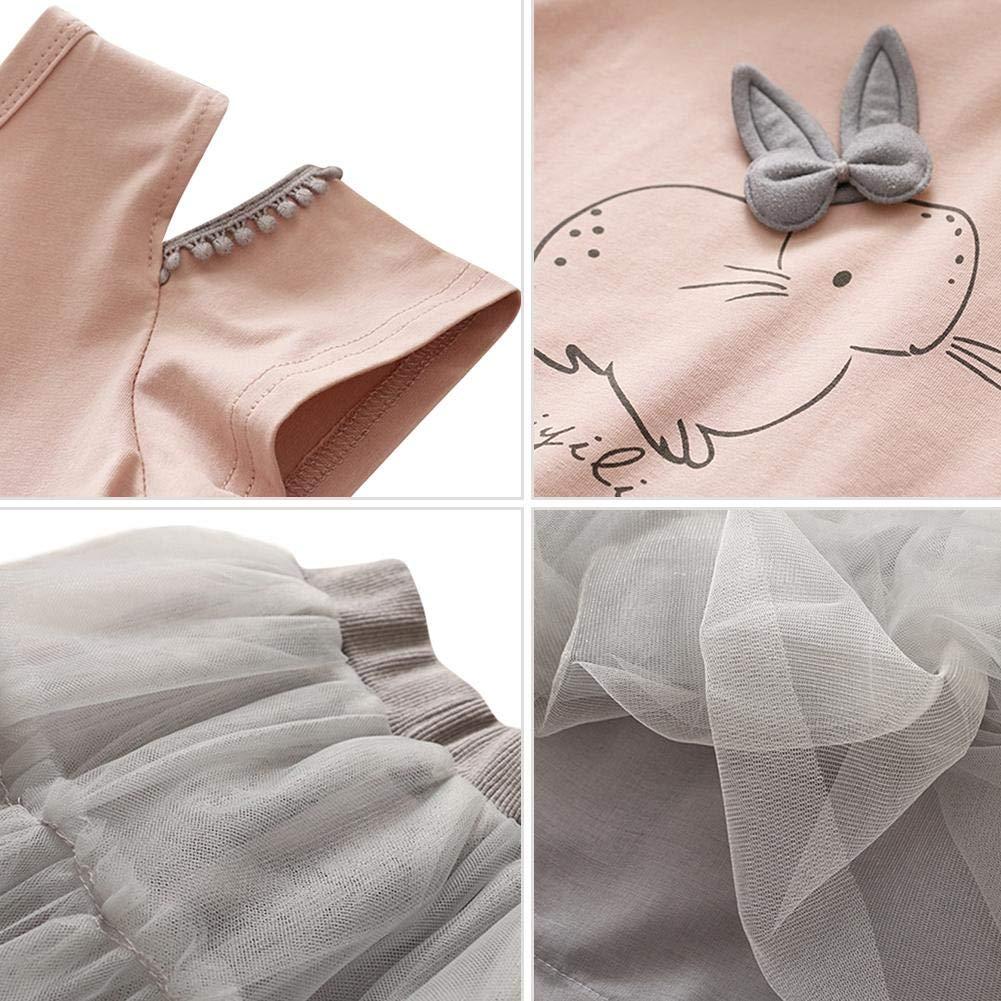 2pcs Kids Girl Summer Cold Shoulder Short Sleeve T-shirt+Skirt Pink 3-4T Anidalec