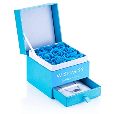WISHMISS Women Necklace In Blue Gift Box And 7 Roses Bath Bombs Set