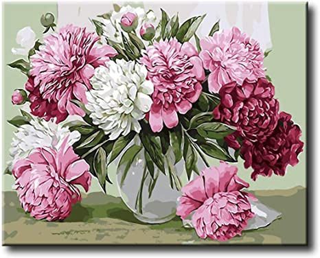 Acrylic Painting-Beautiful Pink Flower 16X20 Inch Shukqueen Diy Oil Painting Framed Canvas Adults Paint by Number Kits