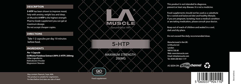 LA Muscle 5-HTP 200mg La pérdida de peso y un mejor sueño en cuestión de días, máximo 200 mg fortaleza de grado farmacéutico y mejora el humor y reduce la ...