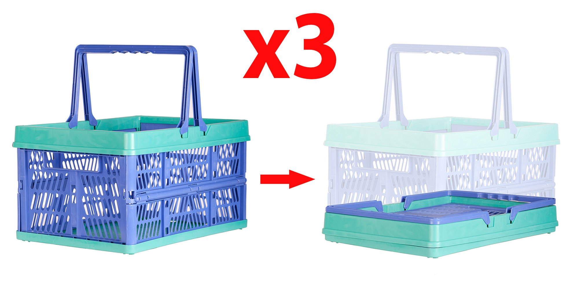 3 Packs Cart-Buddy 31 Liter Collapsible Storage Bin/Container Grated Wall Folding Utility Shopping Carry Basket Tote With Handle