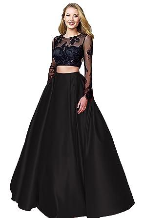 bdbb4476ee2 Lanshini Women s Two Piece Prom Dress Lace Applique Beaded Evening Ball  Gowns Open Back 122 Black