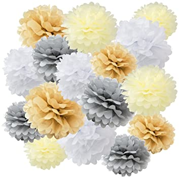 Wyzworks Assorted Set Of 16 Tissue Paper Flower Pom Poms 8 10 12 Party Table Wall