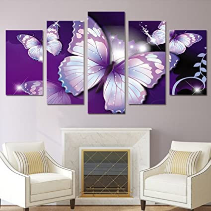 . Garth Canvas Print HD Printed Purple Butterfly Painting Room Decor Print  Poster Picture Canvas watercolor