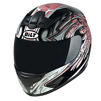 Amazon.com: BILT Womens Racer Full-Face Motorcycle Helmet - LG, Black/Pink: Automotive