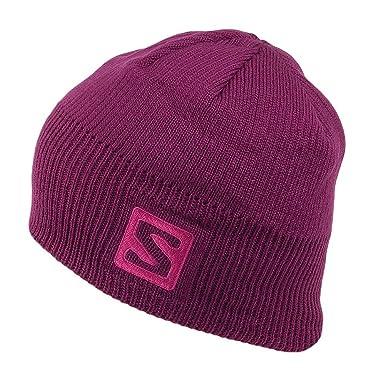 8133cbfe Salomon Hats Logo Beanie Hat - Plum 1-Size: Amazon.co.uk: Clothing