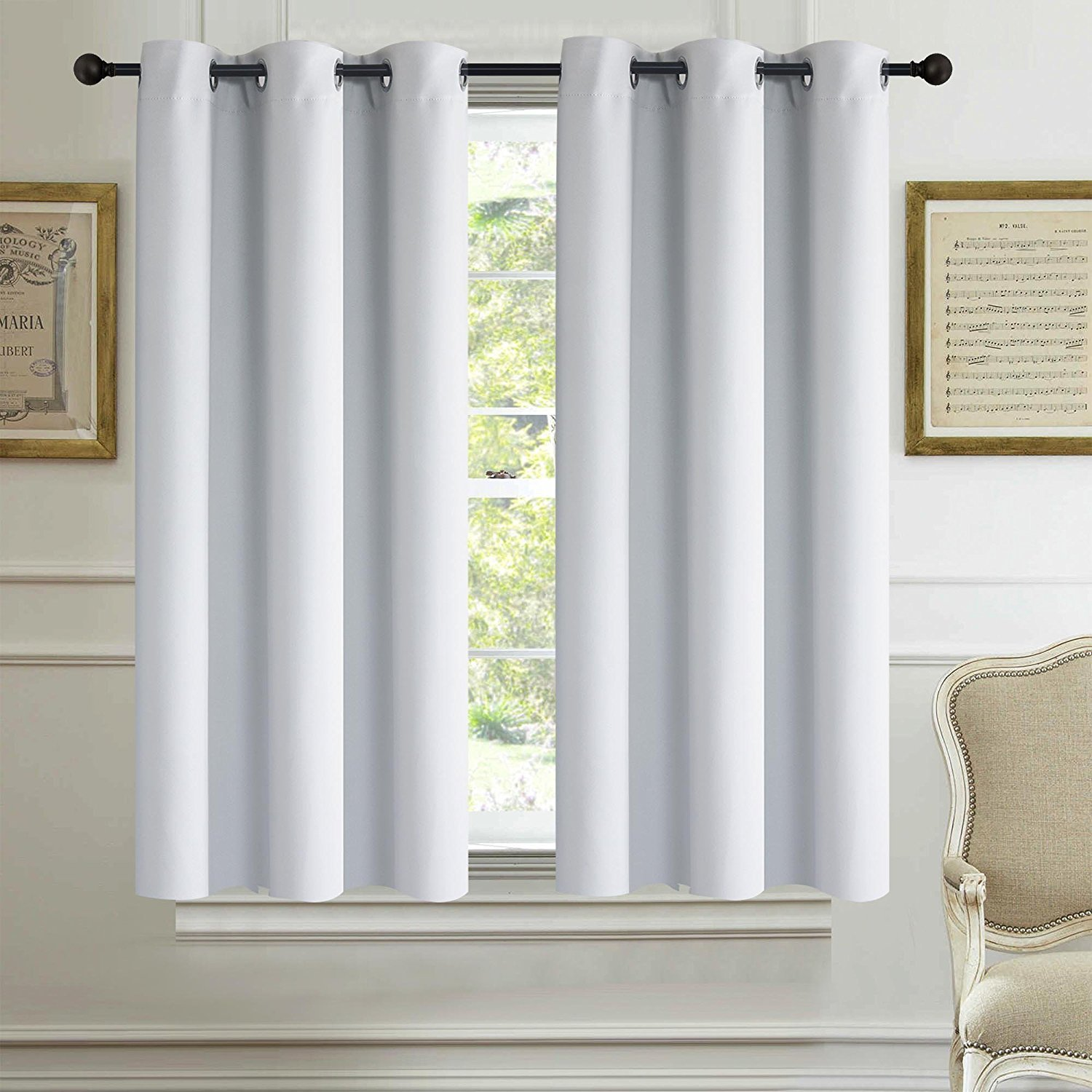Alice Brown Solid Thermal Insulated Blackout Window Curtains/Draperies / Panels for Bedroom/Living Room/Sliding Glass Doors Top Fation Grommet (1 Panel,W42 x L63 –Inch,Greyish White)