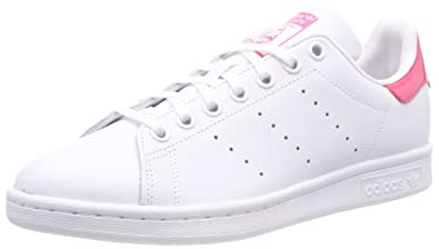 adidas Youth Stan Smith White Real Pink Leather Trainers 3.5 US