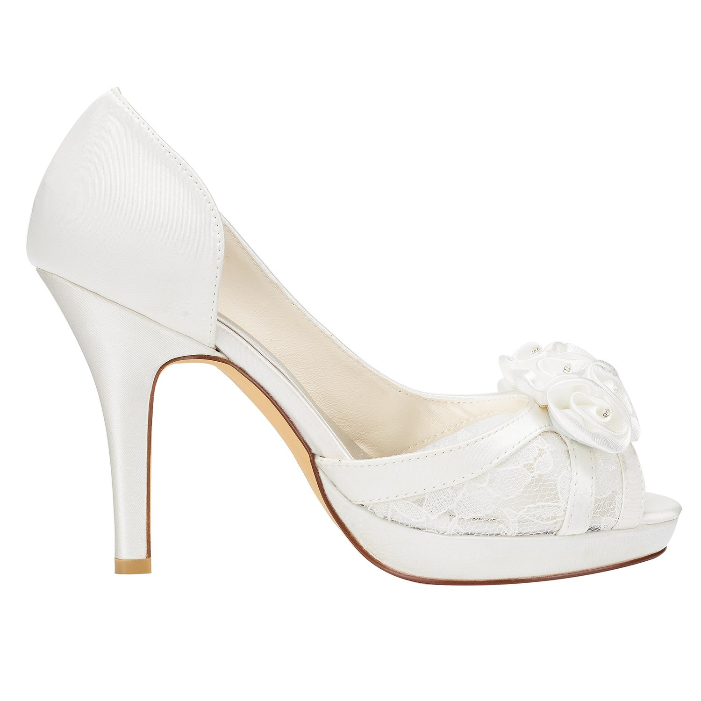 Emily Bridal Spitze Hochzeit Schuhe High Heel Peep Plattform Plattform Plattform Elfenbein Slip-On Brautschuhe mit Blaumen d71ca5
