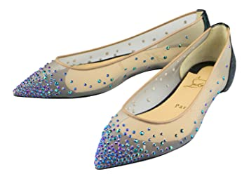 b9f13e36370 Christian Louboutin Follies Strass Embellished Flats Shoes 6.5/36.5 ...