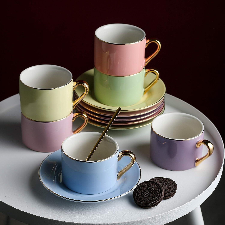 220 ml Tasse /à Caf/é Th/é avec Soucoupes Coffret Cadeau pour F/ête Service /à Caf/é en Porcelaine pour 6 Personnes Mariage Artvigor Anniversaire