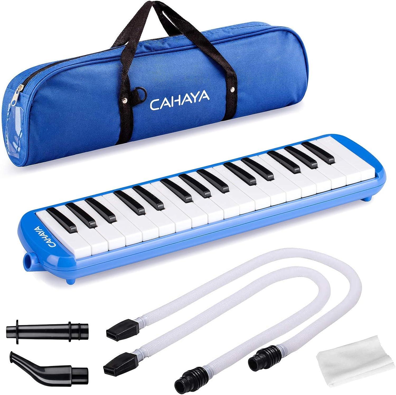 Melódica CAHAYA, Piano de Viento con 32 Teclas, Incluye Tubo de Soplado, Boquilla y Bolsa de Transporte (Azul)