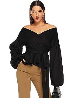 f9132d3923a8 SheIn Women's Long Sleeve V Neck Ruffle Blouse Off Shoulder Tie Waist Wrap  Tops
