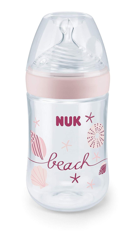 M Milch NUK 10216234 Beach Nature Sense Babyflasche 1 St/ück rosa BPA-frei mit brust/ähnlichem Silikon-Trinksauger 260 ml Inhalt 6-18 Monate Girl
