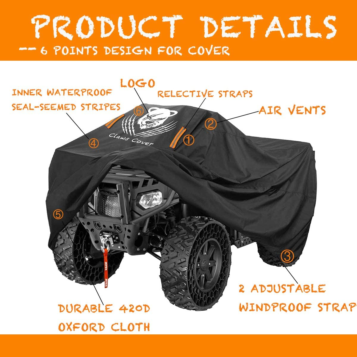 ClawsCover XL 76 Inch ATV Quad Covers Waterproof Outdoor Heavy Duty 420D Oxford Cloth Durable 4 Wheeler ATC Rain Cover Accessories All Weather UV Protection for Kawasaki Polaris Suzuki Can am