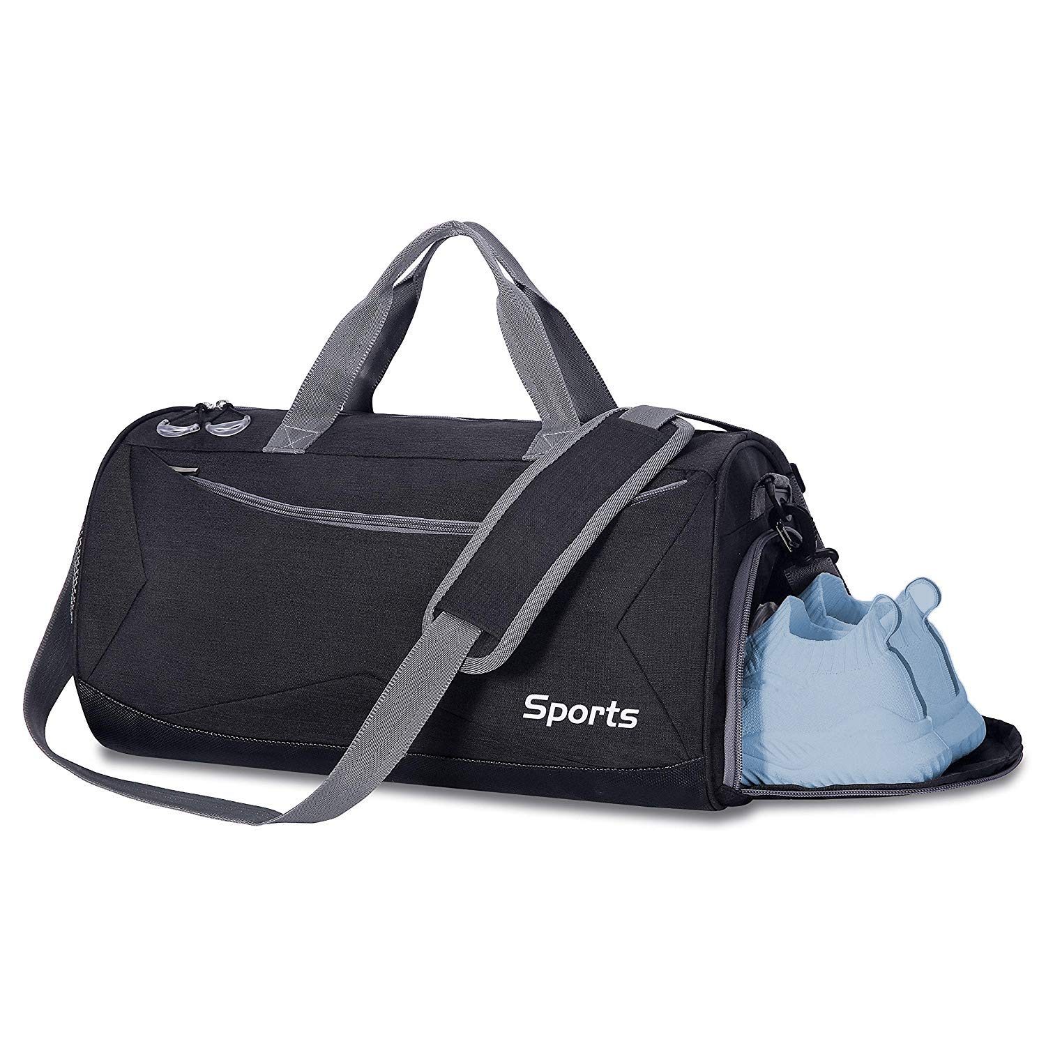ASNYZH Sports Gym Bag with Wet Pocket Shoes Compartment Workout Duffel Bags for Women and Men,Black