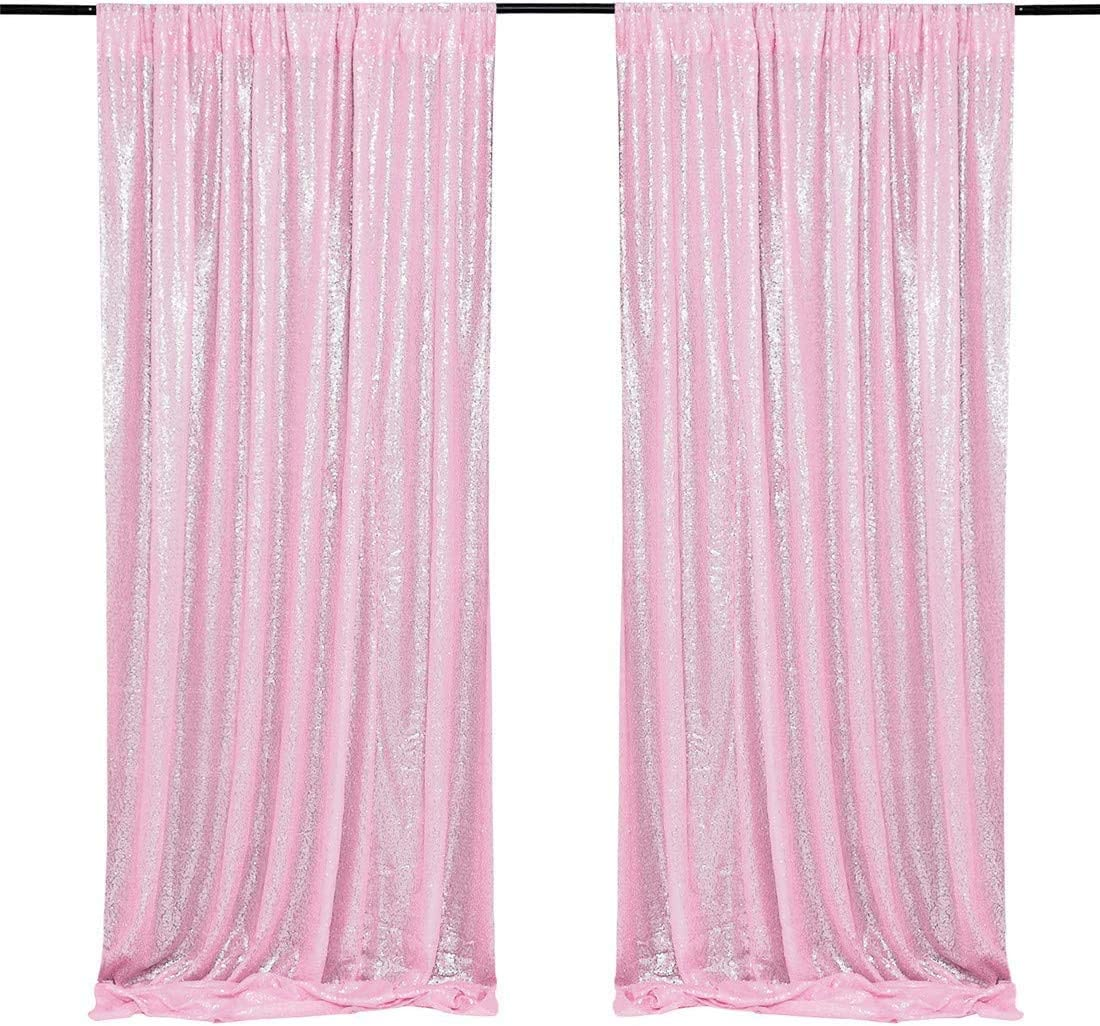 4PCS Sequin Backdrop Indoor Panels 2FTx8FT Shiny Stage Backdrop Pink Photography Background Curtain for Party Decoration
