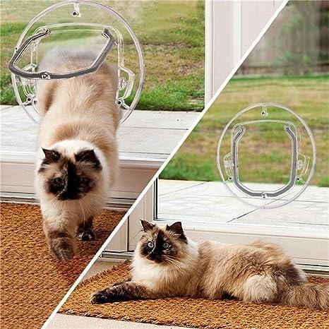 Guoyajf Puerta para Mascotas para Gatos Y Perros Pequeños,Puerta Redonda Transparente con Solapa De Gato con Liner Kit Lo Mejor para Ventana De Pantalla, ...