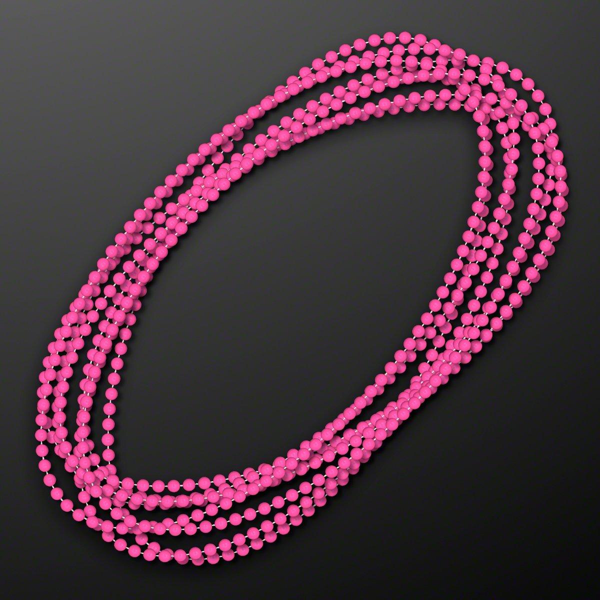 FlashingBlinkyLights Pink Round Ball Mardi Gras Bead Necklaces (Set of 144)