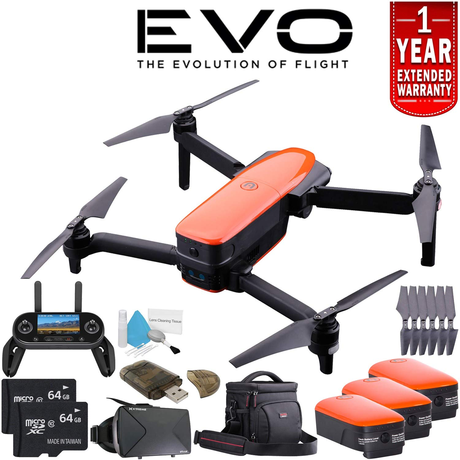Autel Robotics EVO Quadcopter + Autel Robotics 4300mAh Intelligent LiPo Battery + Travel Bag for EVO + 64GB microSDXC + VR VUE: 3D Virtual Reality Viewer + Card Reader + Deluxe Cleaning Kit Bundle