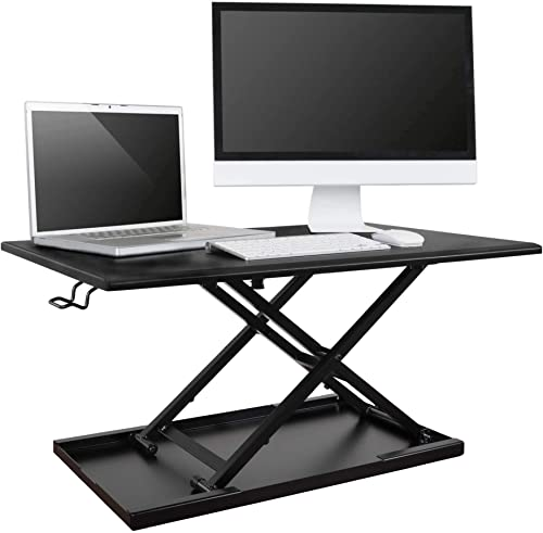 Stand Up Desk Store AirRise Standing Desk Converter Adjustable Height, Single Tier, 32 Inches Long, Black