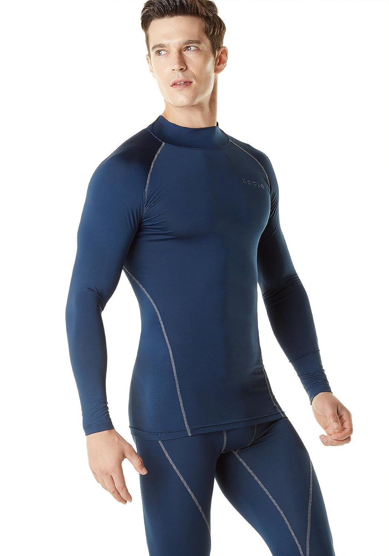TSLA Mens Mock Long-Sleeved T-Shirt Cool Dry Compression Baselayer Top