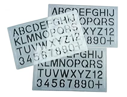 parth impex letter and number stencils pack of 3 numeric alphabet painting technical drawing