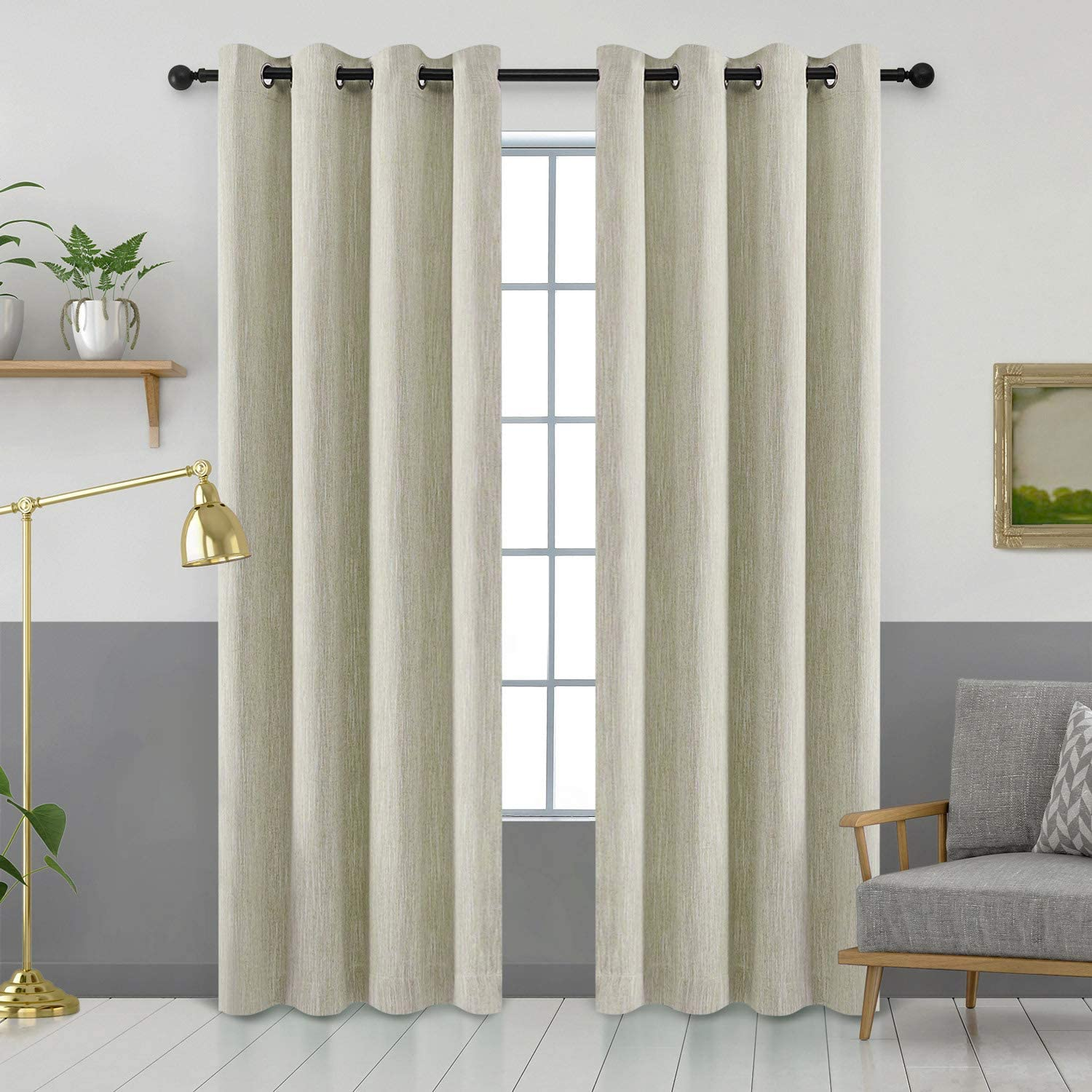 Melodieux Elegant Cotton Room Darkening Blackout Curtains for Living Room Bedroom Thermal Insulated Grommet Drapes, 52 by 84 Inch, Beige (1 Panel)
