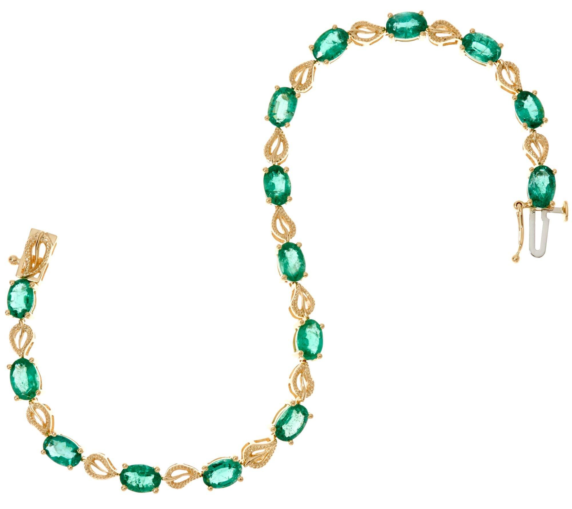 Silvercz Jewels 7.50 Carat Green Emerald Leaf Design Tennis Bracelet, 14K Yellow Gold Plated by Silvercz Jewels