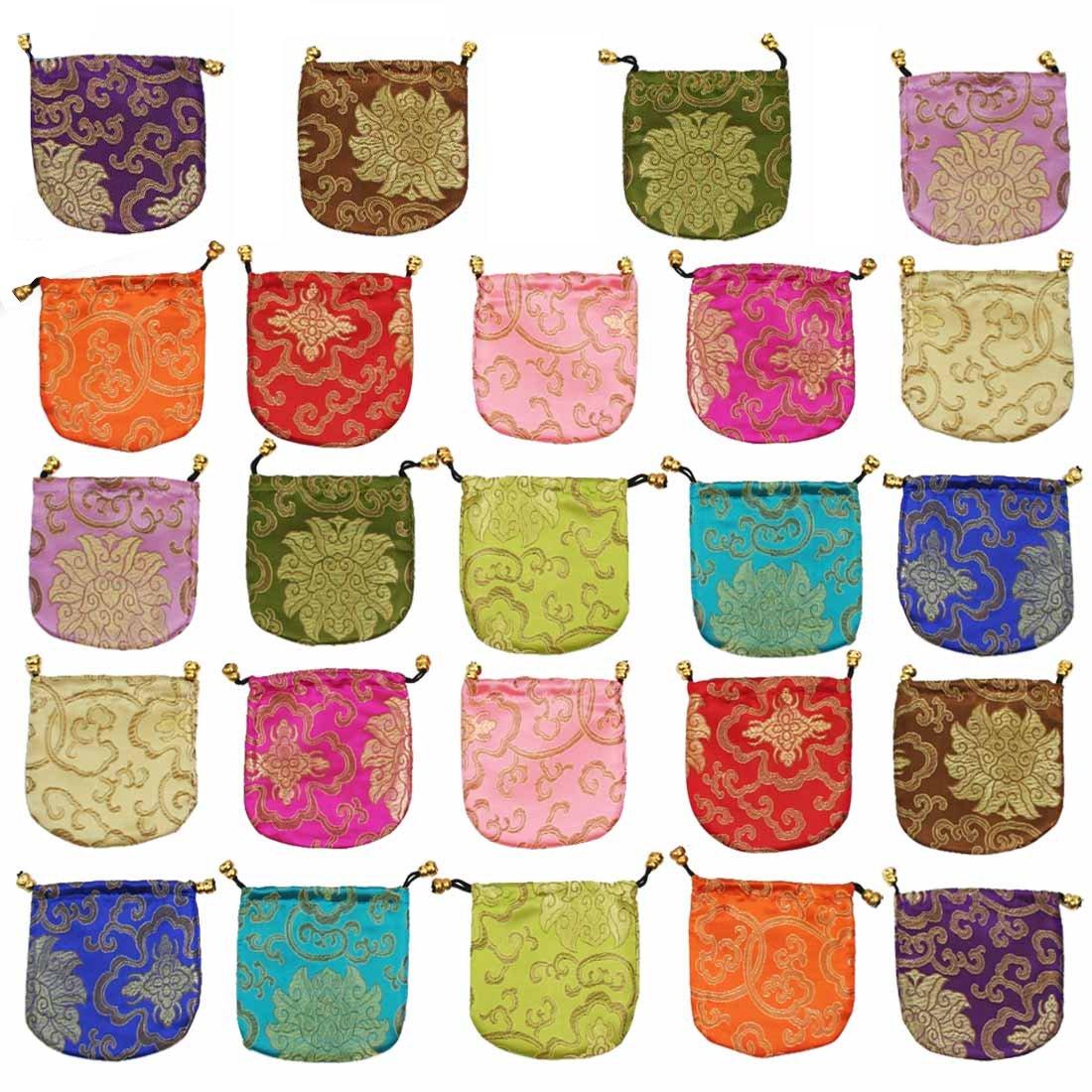 kilofly Chinese Silk Brocade Drawstring Jewelry Pouch Bag Value Set, 24 pcs TBA401set24
