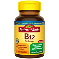 Nature Made Vitamin B12 500 mcg Tablets, 200 Count for Metabolic Health† (Packaging...