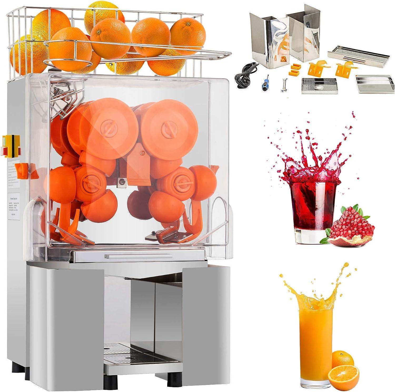 Nurxiovo Commercial Orange Juicer Machine 110V/120V Automatic Citrus Juicer Electric Juice Squeezer Lemonade Making Machine Heavy Duty #304 Stainless Steel with Bins, 25-30 oranges per minute