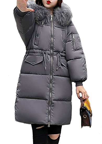 c4177548d3a Aceshin Women Warm Coat Padded Parka Casual Faux Fur Hooded Thicker Winter  Down Jacket Long Overcoat Outerwear  Amazon.co.uk  Clothing