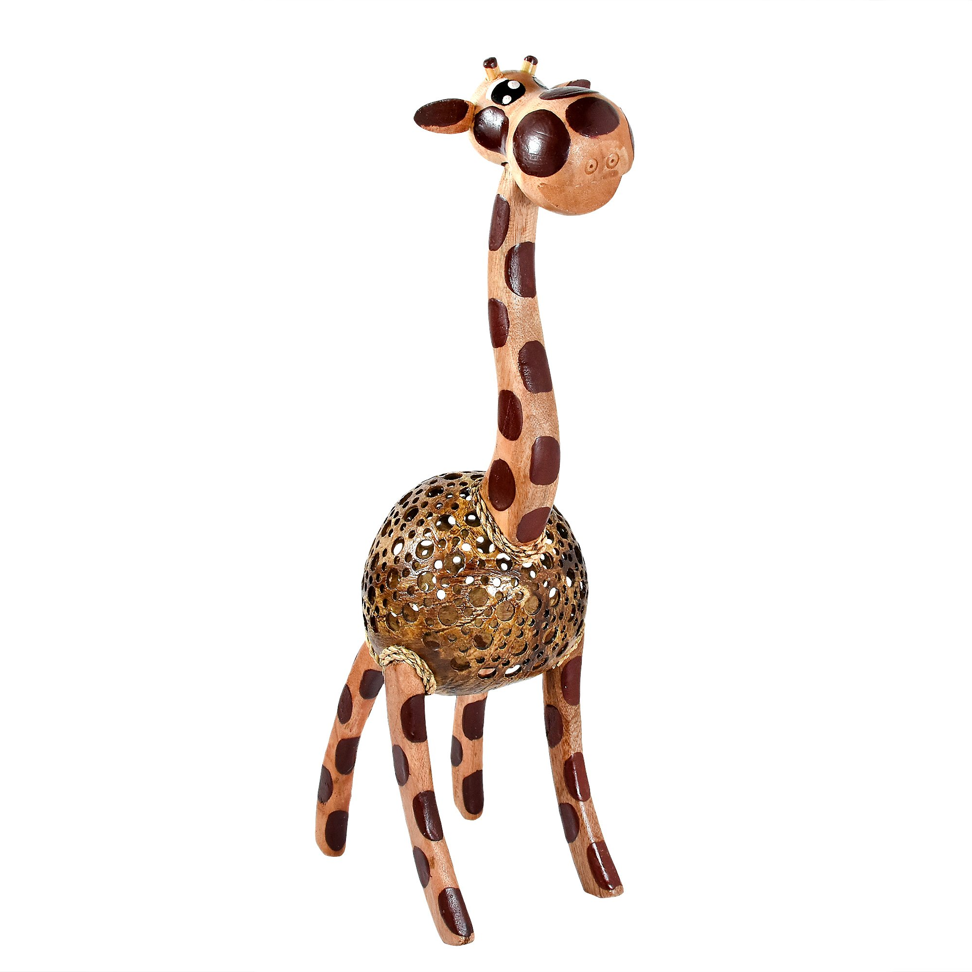 AeraVida Wooden Giraffe Coconut Shell Handmade Figurine Sculpture