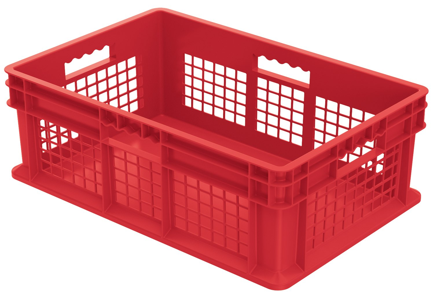 Akro-Mils 37678 24-Inch by 16-Inch by 8-Inch Straight Wall Container Plastic Tote with Mesh Sides and Solid Base, Case of 4, Red