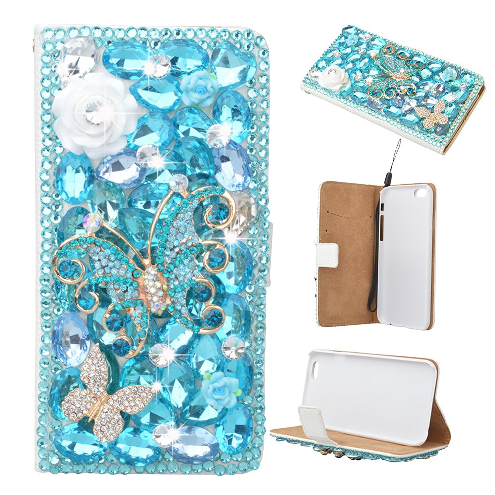 Spritech(TM) 3D Handmade Pure White Crystal Flower Blue Butterfly Diamond Design Leather Wallet Case for Samsung Galaxy Note 2 N7100