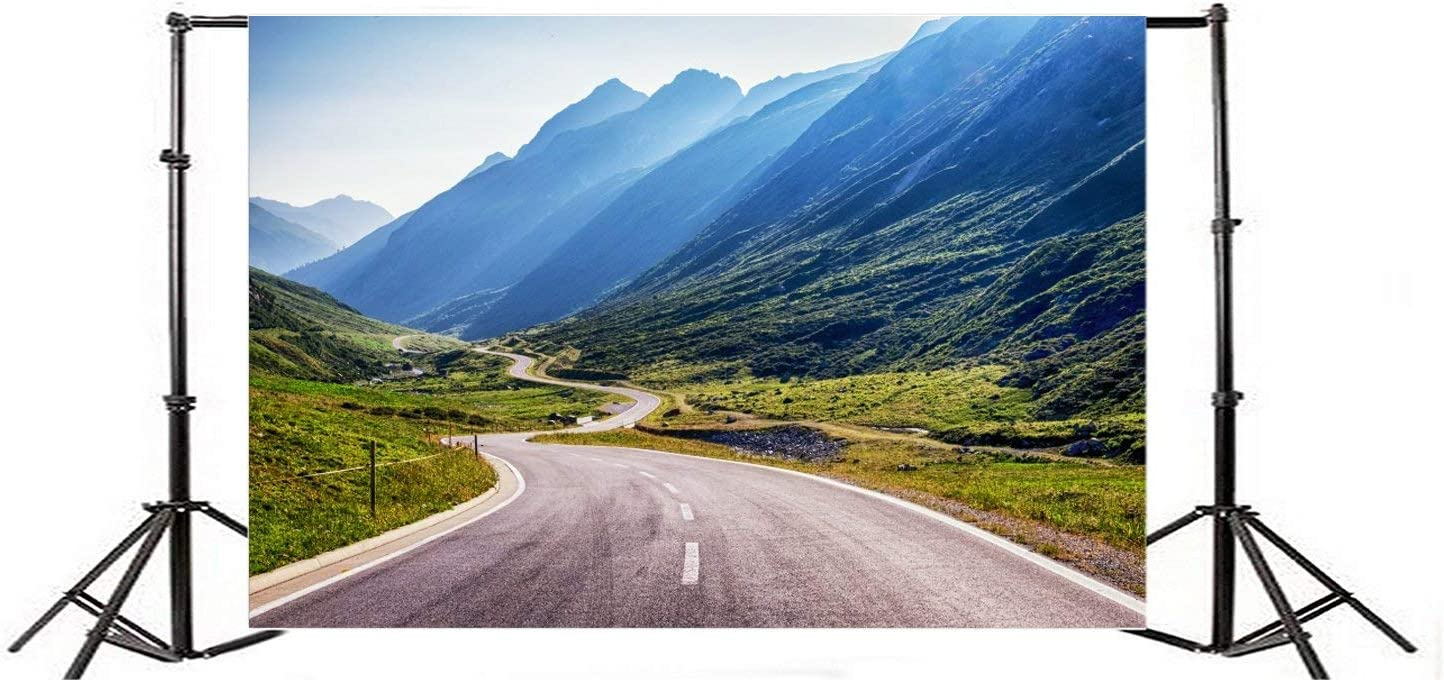Mountain Road Landscape Background 7x5FT Polyester Photography Curving Road Green Mountains Scenery Background Scenic Outdoors Background Photo Children Baby Photos Shoot Studio Prop TV Video