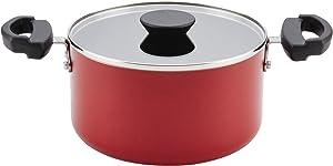 Farberware Neat Nest Aluminum Nonstick Covered Stackable Pots (3.5- Quart, Red)