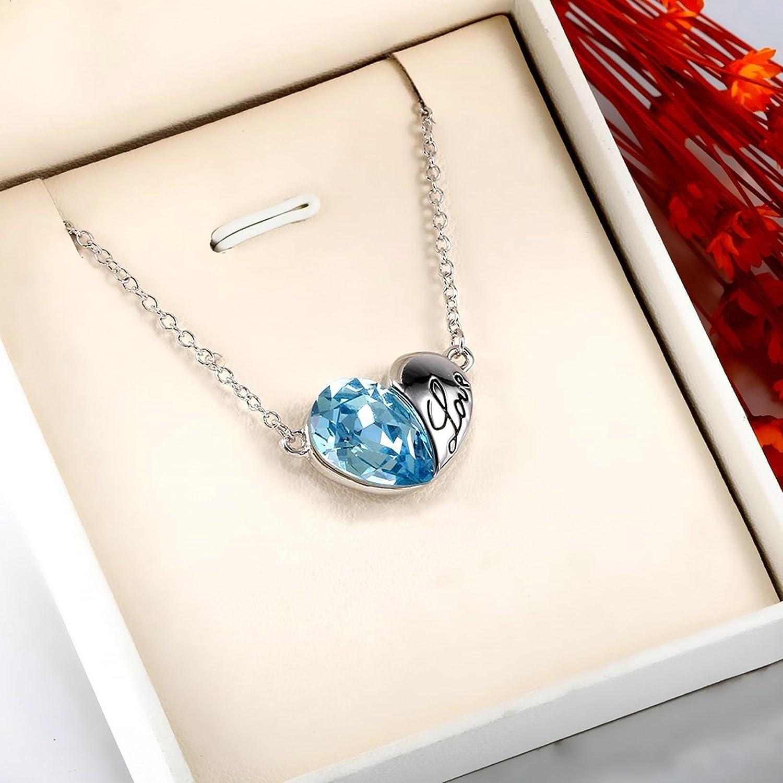 Gnzoe Jewelry Stainless Steel Women Necklace Heart Shape Pendant Love Blue Friendship Chain 41.5+6CM
