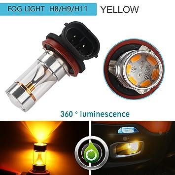 ZISTE H8 H9 H11 Luz LED para niebla Bombilla con reflector Luces LED brillantes y amarillas para la niebla Paquete de 2 para coche: Amazon.es: Coche y moto