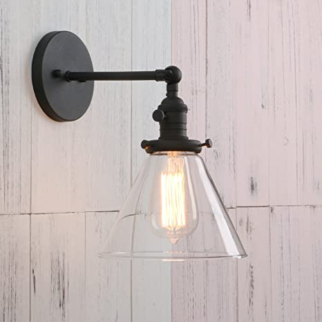 Permo Single Sconce With Funnel Flared Glass Clear Glass Shade - Single light bathroom sconce