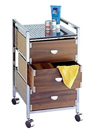 Wenko 17531100 - Cajonera con ruedas para baño 3 cajones, madera laminada y acero (33 x 57 x 40 cm), color nogal: Amazon.es: Hogar